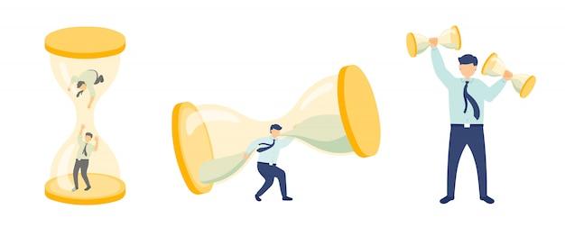 Werktijd werknemersbeheer miniatuur assemblageteam personeel kleine mensen en zandloper bedrijfsmetafoor concept poster of sociale banner ontwerp illustratie geïsoleerd op een witte achtergrond