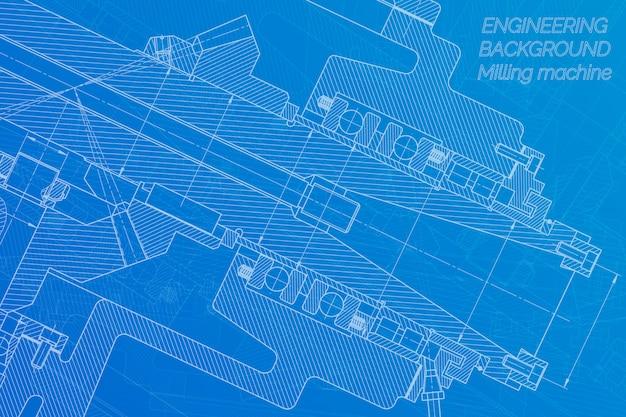 Werktuigbouwkundige tekeningen. freesmachine spil. technisch ontwerp