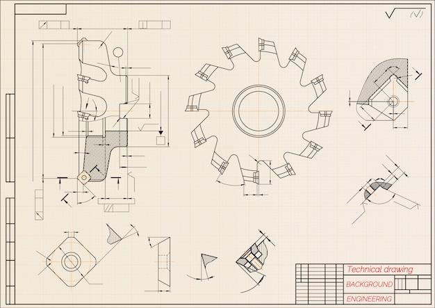 Werktuigbouwkundige tekeningen op beige technische papel, snijgereedschap, frees. industrieel ontwerp.