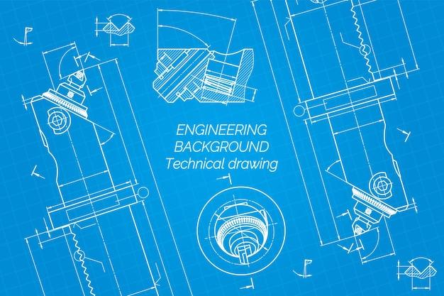 Werktuigbouwkundige tekeningen op blauwe achtergrond saaie bar met micrometrische aanpassing technische ...