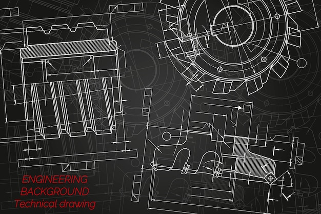 Werktuigbouwkundige tekeningen op zwarte achtergrond. snijgereedschappen, frees. technisch ontwerp. hoes. blauwdruk. vector illustratie.