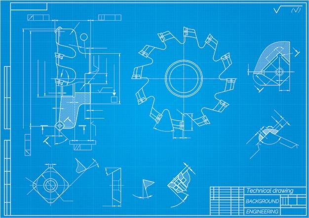 Werktuigbouwkundige tekeningen. snijgereedschap, frees. technisch ontwerp