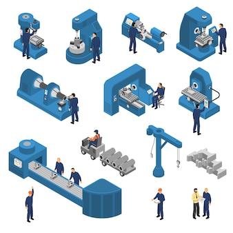 Werktuigmachines met werknemers isometrische set
