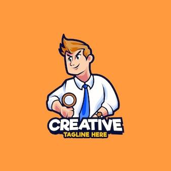 Werkzoekende mascotte logo ontwerp illustratie
