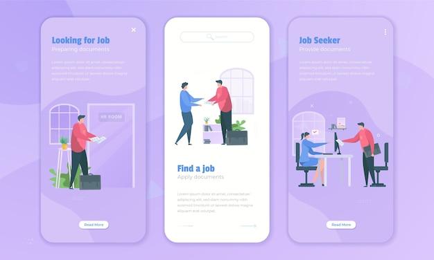 Werkzoekende solliciteert naar nieuwe banen op het schermconcept aan boord