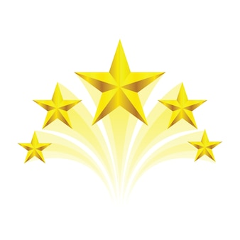 Wervel gouden vijf sterren