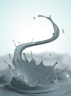 Wervelende en spattende modder op stomende achtergrond, 3d illustratie