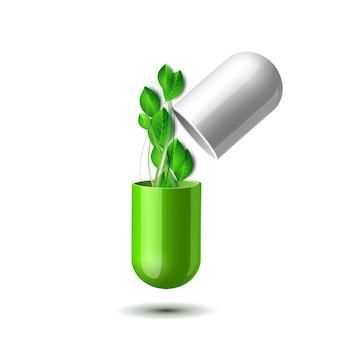 Werveling van groene bladeren vliegt uit de open natuurlijke medische tablet