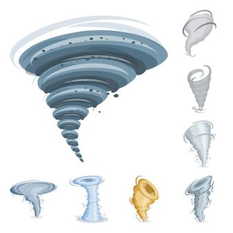 Wervelwind en tornado cartoon elementen set. geïsoleerde illustratie van swirl cycloon. elementen set van tornado. twister en wervelwind.