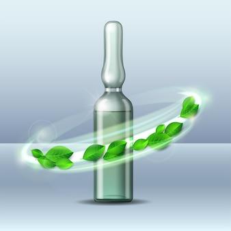 Wervelwind van groene bladeren wervelt rond transparant glazen ampul met vaccin of medicijn voor medische behandeling.
