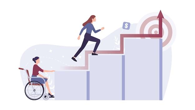 Werving capableim. jonge gehandicapte zakenvrouw kan geen carrièreladder beklimmen. discriminatie en sociale vooroordelen jegens mensen met een handicap.
