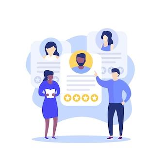 Werving, hr en medewerkersbeoordeling, teambuilding, vector