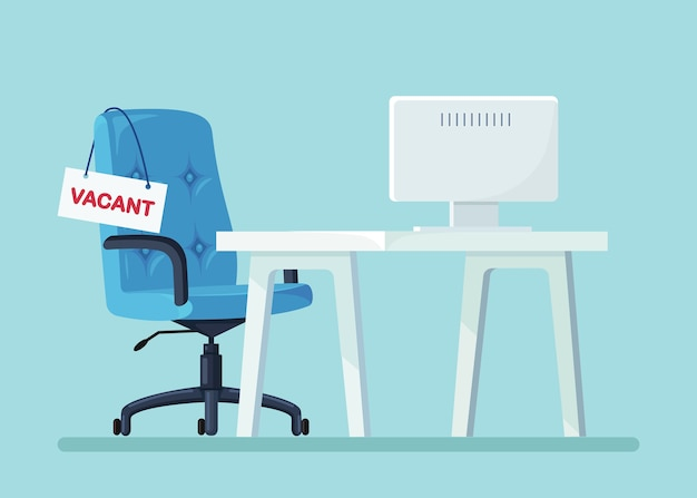 Werving. kantoorinterieur met bureau, lege stoel, computer.