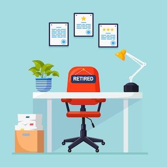 Werving. kantoorinterieur met bureau, stoel met bord met pensioen, documenten. pensioen. vrijgekomen werkplek voor werknemer, werknemer. personeelszaken, hr. medewerkers aannemen. sollicitatiegesprek.
