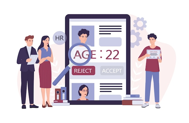 Werving leeftijdsdiscriminatie concept. hr-specialist wijst een jongeman cv af. oneerlijkheid en werkgelegenheidsprobleem van jonge volwassenen. de personeelsafdeling neemt geen mensen aan van 20 jaar. illustratie