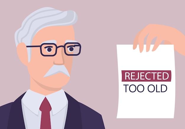 Werving leeftijdsdiscriminatie concept. hr-specialist wijst een oude man cv af. oneerlijkheid en werkgelegenheidsprobleem van senioren. de personeelsafdeling neemt geen 50-plussers aan. illustratie