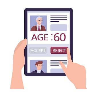 Werving leeftijdsdiscriminatie concept. hr-specialist wijst een oude man cv af. oneerlijkheid en werkgelegenheidsprobleem van senioren. de personeelsafdeling neemt geen mensen van 50 jaar aan.