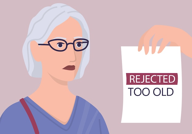 Werving leeftijdsdiscriminatie concept. hr-specialist wijst een oude vrouw cv af. oneerlijkheid en werkgelegenheidsprobleem van senioren. de personeelsafdeling neemt geen 50-plussers aan. illustratie