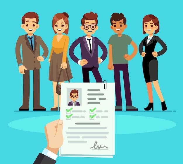 Werving. recruiter kiest kandidaten met cv cv. human resource en sollicitatiegesprek