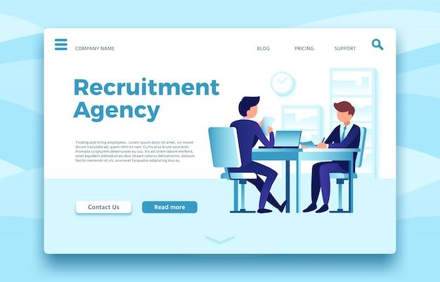 Wervingsbureau. landingspagina voor werkgelegenheidswerkgelegenheid, het vinden en inhuren van werknemers online sitesjabloon