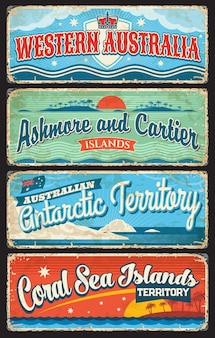 West-australië, antarctisch gebied, coral sea, ashmore en cartier islands platen
