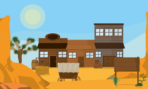 West-stad met houten huizen
