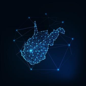West virginia staat vs kaart gloeiende silhouet omtrek gemaakt van sterren lijnen stippen driehoeken, lage veelhoekige vormen. communicatie, internettechnologieën concept. wireframe futuristisch