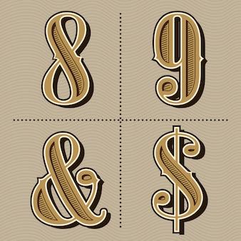 Westelijke alfabet letters vintage nummers ontwerp vector