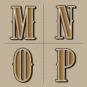 Westelijke vintage het ontwerpvector van alfabetbrieven