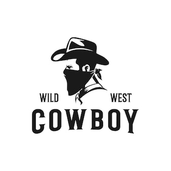 Western cowboy bandiet amerikaans logo premium vector