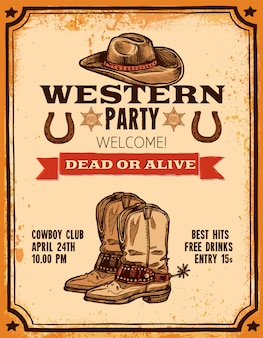 Western hand getrokken poster