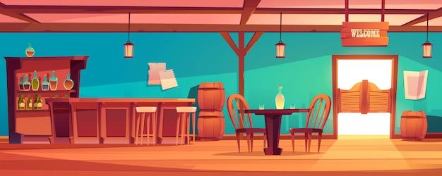 Western saloon interieur, wilde westen taverne met bar