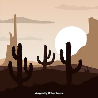 Westerse achtergrond met cactussen