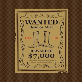 Westerse achtergrond wilde vintage hand getrokken poster