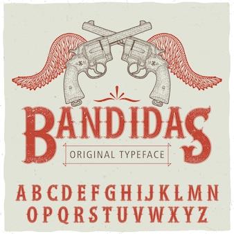 Westerse bandidas lettertype poster met hand getrokken twee revolvers en vleugels vector illustratie