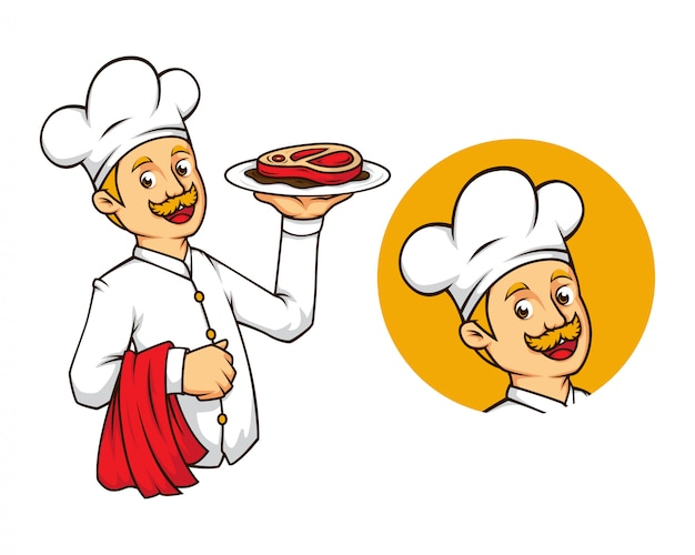 Westerse chef-kok met biefstukmascotte