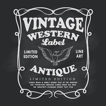 Westerse hand getrokken frame label schoolbord vintage banner vector