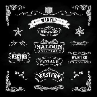 Westerse hand getrokken schoolbord banners vintage badge vector