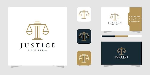 Wet en advocaat logo ontwerpen sjabloon met lijn kunststijl en visitekaartje