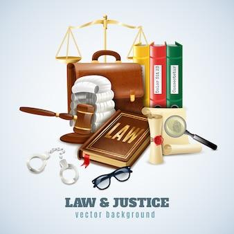 Wet en orde samenstelling achtergrond poster