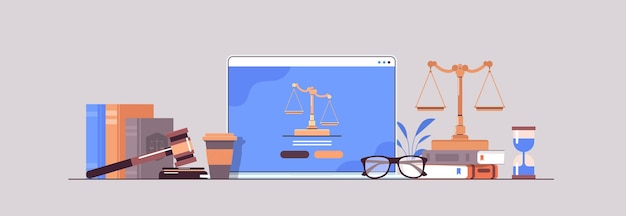 Wet en rechtvaardigheid concept hamer rechter boeken en schalen op laptop scherm online advocaat juridisch advies horizontaal