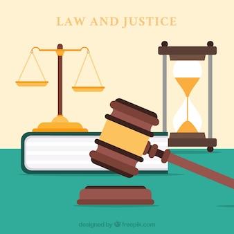 Wet en rechtvaardigheid concept met platte ontwerp