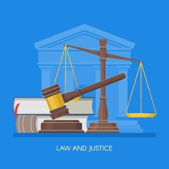Wet en rechtvaardigheid concept vectorillustratie in vlakke stijl ontwerp elementen symbolen pictogrammen Premium Vector