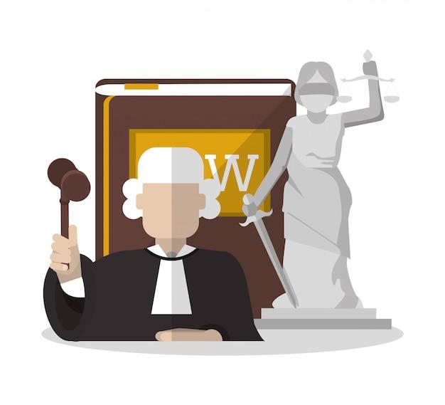 Wet en rechtvaardigheid iconen ontwerp