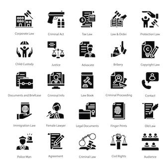Wet en rechtvaardigheid professionele pictogrammen