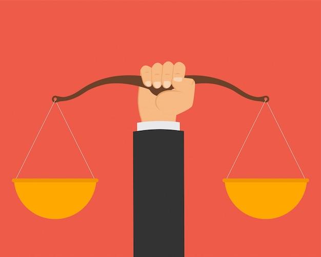 Wet en rechtvaardigheid, schalen van een rechter.