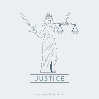 Wet en rechtvaardigheidsconcept met hand getrokken stijl