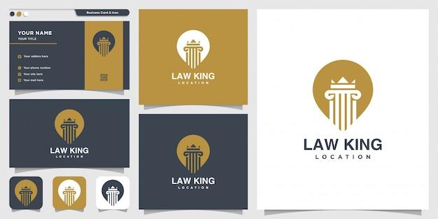 Wet koning locatie logo en visitekaartje ontwerpsjabloon, advocaat, justitie, pin-logo, wet-logo
