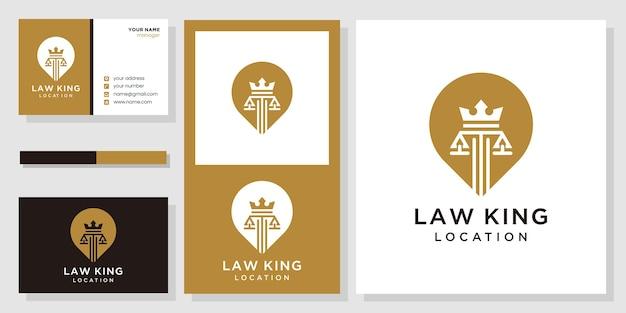 Wet koning locatie logo en visitekaartje