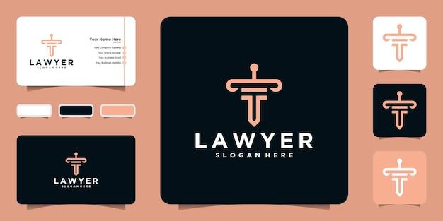 Wet logo met lijn kunststijl krijger vorm een rechtvaardigheid en visitekaartje inspiratie Premium Vector